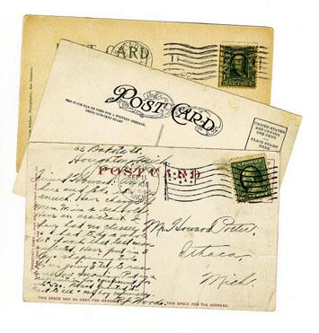 realia: Postcards - reverse side